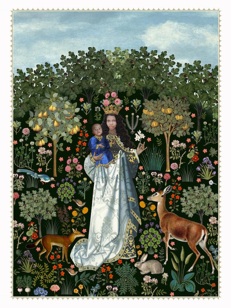 Virgin in the rose garden