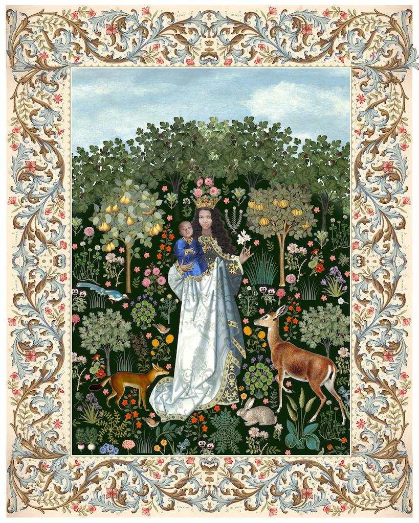 Virgin in the rose garden border