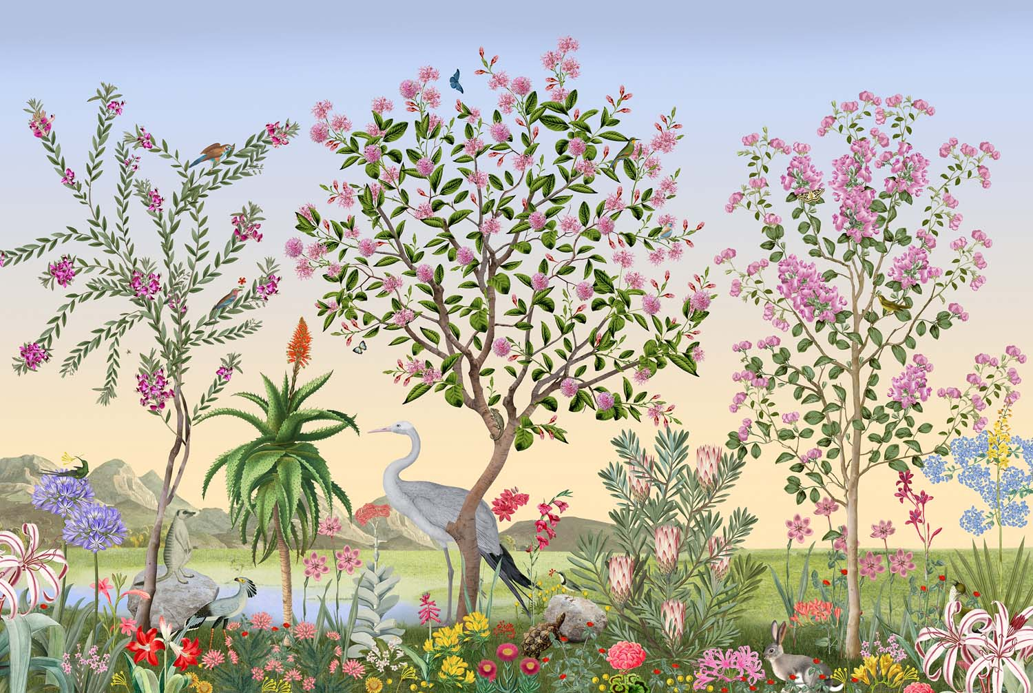 South African landscape with Pom Pom tree and Blue Crane bird